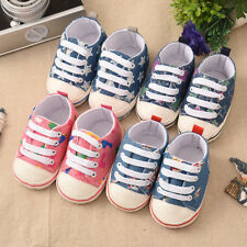 Infant Toddler Baby Boy Girl Kid Unisex Crib Soft Sole Shoes Sneaker Star Denim