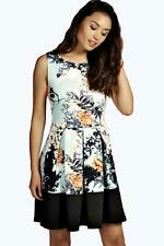 Womens Ladies Contrast Panel Skater Swing Sleeveless Dresses Floral Leafs Print