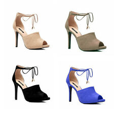 WOMENS LADIES CUT OUT HIGH  HEEL PEEP TOE ANKLE STRAP SANDALS SHOES SIZE 2-7