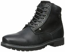 Steve Madden Casual Fashion Leather Canterr Winter Black Mens Shoes Boots