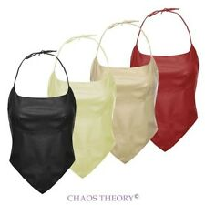 Womens Ladies Pvc Pu Faux Leather Sexy Halter Neck Bustier Top Vintage