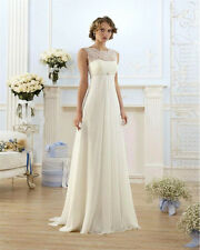 Chiffon Lace Wedding Dress A-line New Stock White/Ivory Backless Bridal Dress