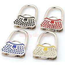 Folding Lock Pattern Purse Rhinestone Hanger Handbag Table Hook Gift 4 Colors