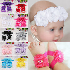 Chiffon Foot Flower Barefoot Sandals Shoes Baby Girl Infant Headband Hairband