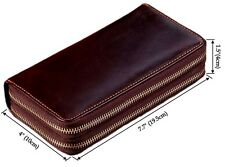 Vintage Men Genuine Leather Long Bifold Wallet Purse Clutch Phone ID Card Holder