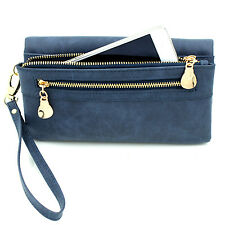 Large Capacity Double Zip Clutch Wallet Hangbag Bag PU Leather For Women Girls