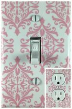 Pink Damsk Single Toggle Decorative Light Switch Cover Outlet Switch Plate