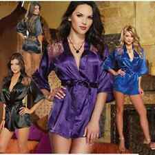 Sexy Lace Satin Babydoll Robe Sleepwear Lingerie Nightdress Pajamas G-string ww