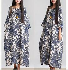 Vintage Women's Chinese Blue White Flower Cotton Linen Loose Pockets Long Dress