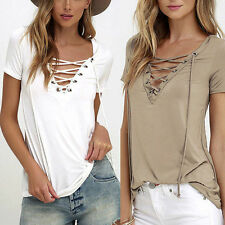 Women's Fashion V-Neck Cross LACE-UP Loose Short Sleeve T-shirt Top Shirt Blouse