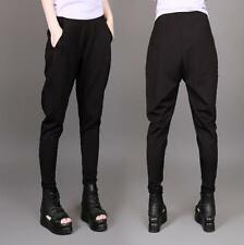 Womens Punk style Elastic Loose Harem Cotton Pants Black Casual Riding Trousers