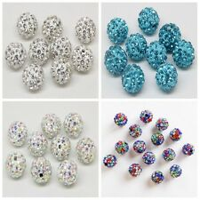20PCS 8/10/12mm Czech Crystal Rhinestone Pave Clay Round Disco Ball Spacer Beads