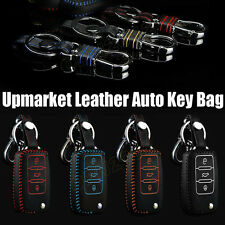 Leather Car Remote Controller Key Case Bag Box Housing Holder Chain For Vw Mazda