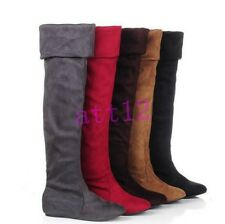 Women Faux Suede Over Knee Thigh High Boot  Hidden Wedge Stretched Pull On Shoes