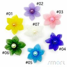 30pcs Organza Ribbon Flower Bow With Beads Weedding Handmade Appliques Craft