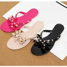 Womens Bowknot Flip Flop Sandal Flat Heel Rivet Beach Thongs Slipper Shoes Mules