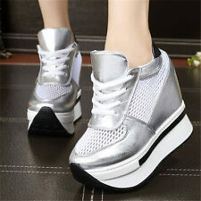 Womens Shoes Fashion Sneakers Breathable Sport Creepers Platform Wedge Boots