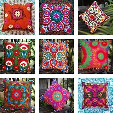 "16x16"" Indian Decor Pillow Cover Handmade Woolen Suzani Embroidery cushion cover"