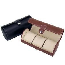 Useful 3 Slot Watch Travel Case PU Leather Roll Box Collector Organizer Storage