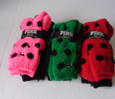 victoria's secret winter socks multicolor black/polka dot pink green red 2 pairs
