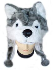 Cute!  NEW  Grey *WOLF * Cartoon Animal Plush Winter warm Hat Cap, VERY SOFT