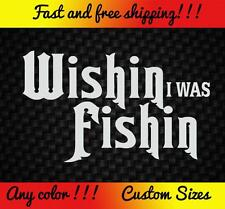 Wishing Fishing Vinyl Decal Sticker Car Truck Bass Boat Funny Pole Rod Lure