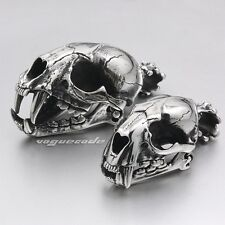 Huge & Heavy 316L Stainless Steel Lion Skull Mens Biker Pendant Openable W031A