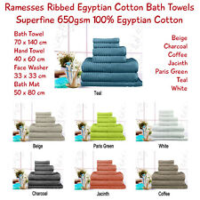 Ribbed Egyptian Cotton Towels 650gsm 7 Colours All Sizes - Single Pieces & Sets