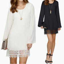 Women Lady Lace Stitch Long Sleeve Loose Mini Dress Cocktail Evening Party SN