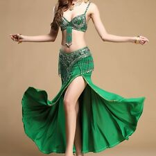 Handmade Beaded Bra Top Hip Scarf Belly Dance Costume 2 pics bra+belt Set