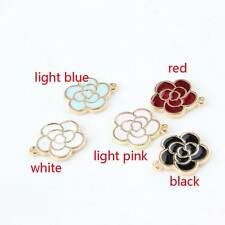 Cute 20PCS Gold Tone Enamel Rose Flower Charm Pendant DIY Jewelry Making 15x18mm