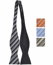 Woven Silk Thin Striped Reversible Self-Tie Bow (FRBS1060)