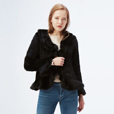 For UK Noble Real Knitted Mink Fur Women Big Collar Coat Brown Jacket Outwear