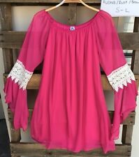 Honeyme California C Fushia Bell Lace Sleeves Chiffon Tunic Dress S M L