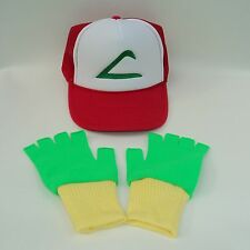 Pokemon Ebroidered Ash Trainer Costume Hat & Gloves Set Green/Yellow Choose Sze