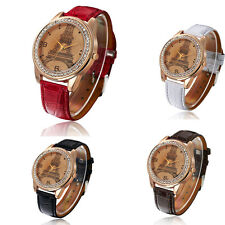 Women Unique Faux Leather Crystal Rhinestone Eiffel Tower Quartz Wrist Watch