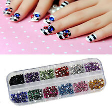 3000Pcs Round Rhinestones Nail Art Acrylic Tips Decoration Glitters Case 12color