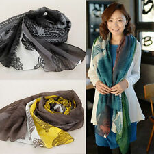 Women In Ethnic Indian Floral Pattern Voile Fade Color Wrap Pashmina Shawl Scarf