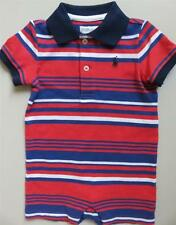 New Ralph Lauren Baby Boys Red White And Blue Striped Shortall Romper