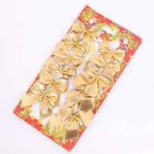 12pcs Red And Gold Christmas Tree Bows,Bow Decoration,Gift,Ornament,,Merry XMAS!