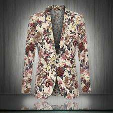 Stylish Mens Floral Printed Slim Fit Lapel Coat One Button Suits Tops Jacket