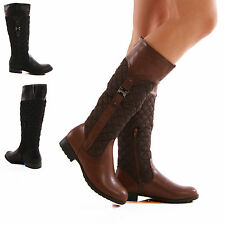 NEW LADIES WOMENS KNEE HIGH QUILTED FAUX LEATHER RIDER BOOTS SHOES SIZE 3-8