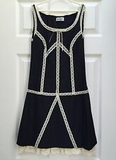 CHIC DESIGNER DRESS~Lace Trim/Tiered Ruffle Skirt/Stripe Suit Fabric/Bow $245 XS