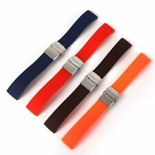 Waterproof Silicone Rubber Watch Strap Band Deployment Buckle Band Strap 16~24mm