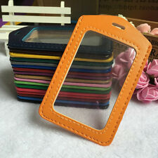 Pu Leather ID Badge Case Clear with Color Border & Lanyard Holes Card Holder New