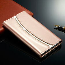 Luxury Diamond Magnetic Leather Flip Wallet Case Cover For Samsung Galaxy Models