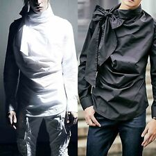 Men Chic White Black Bow Tie Neck Fold Over Top Outfit Formal Dress Casual Shirt