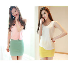 Women Lady Candy Color Cotton Office Short Mini Base Pencil Skirts Summer Dress