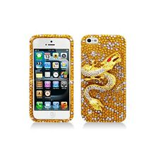 For Apple iPhone SE/5/5S Luxury Full Diamond Dragon Gold Case Skin Cover Bling