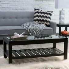 Sutton Glass Top Coffee Table with Slat Bottom